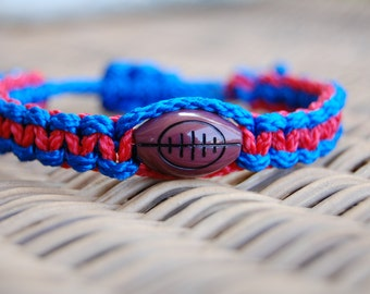 Royal Blue and Red FOOTBALL Bracelet / Trendy Football Mom / FOOTBALL / Football Team / Gift Exchange / Goody Bag / Sports Jewelry /