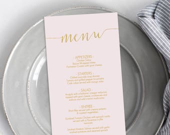 Blush and Gold Tall Menu - Printable Menu Blush Pink - Instant Download - Editable PDF - Wedding Menu - Gold faux foil - 4x9 inches- #GD1210