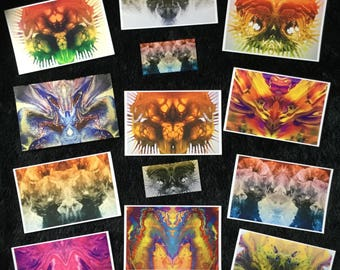 """11 CARD SET of 4x6 Collectible Art Cards - """" Art of Illusion- Symmetricals """" SciFi Fantasy Trading cards"""