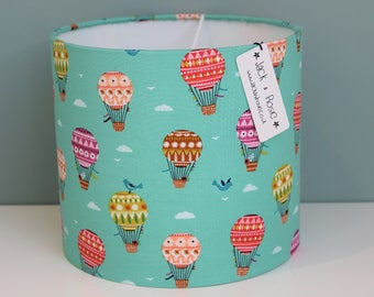 Hot air balloon lamp etsy handmade balloon fabric lampshade nurserychildrens bedroom tableceiling lampshade 20cm aloadofball Images