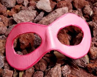 Pink Domino Mask - Round Edged Molded Leather Mask - Superhero Cosplay Mask Comic Costume