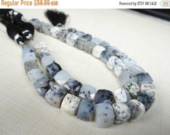 1st ANNIVERSARY SALE--- Dendrite opal faceted cube beads/8mm/4 inch strand