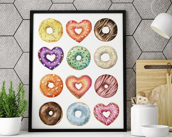 Watercolor Donuts Art Print, Kitchen decor, Kitchen poster, Wall Art, Home Decor, Restaurant wall art, Bakery Poster, Donuts, Food Art Print