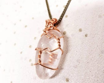 Clear Quartz Crystal Necklace, Clear Quartz Crystal, Wire Wrapped Necklace, Caged Necklace, Clear Quartz Necklace