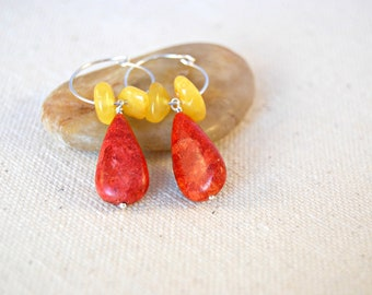 gryffin... coral and amber earrings / apple coral teardrops & butter amber free form rondelle / sterling silver hoop earrings
