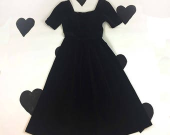 80's Laura Ashley gothic Lolita tea party prom dress 1980's black velour velvet open bow back cutout full skirted princess Dress / M 6 8
