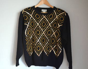 Vintage Black Gold Sequin Beaded Alfred Dunner Sweater