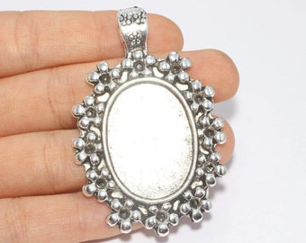 57x36mm Antique Silver Pendant Tray, Bezel Settings, Cabochon Tray,SKU/TR6