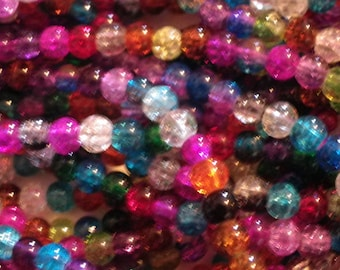 250 beads 4 mm Crackle Glass red, pink, blue