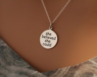 Sterling Silver She Believed She Could So She Did Necklace, She Believed She Could So She Did Charm Necklace