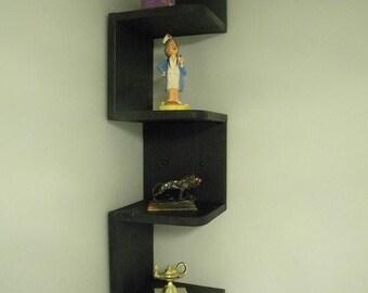 Wall mounted corner  zig zag shelf Retro Black