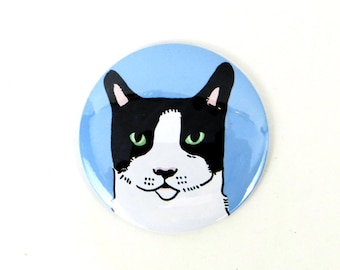 Tuxedo cat magnet, tuxedo cat button, black and white cat, large button magnet, refrigerator magnet for cat lovers