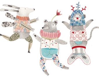 Set of 3 articulated paper puppet dolls DIY