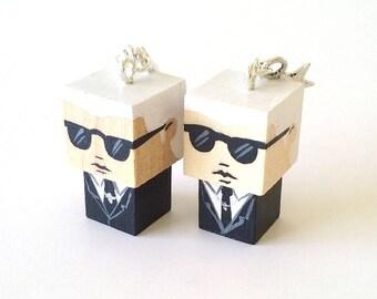 "Earrings Wooden Dolls ""Karl""- Hand-made"