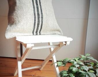 Vintage Authentic Grain Sack Pillow Cover / Antique linen /Black Stripes / Handwoven fabric /Handmade Grainsack Pillow Sham