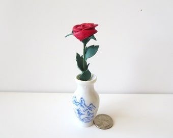 Sexy Valentines day gift -Miniature leather rose -red roses- leather rose-leather flowers stem - miniature rose-3rd Anniversary Gift