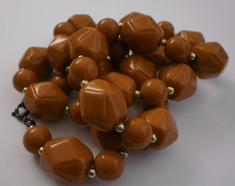 Vintage Lucite Beaded Necklace, Caramel, 1950's