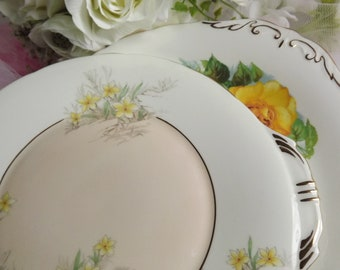 2 Cake Plates Aynsley & Paragon , Yellow Theme Vintage Excellent
