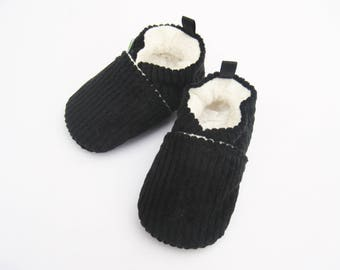 Sale Small Classic Vegan Black Corduroy / All Fabric Soft Sole Baby Shoes / Ready to Ship / Babies