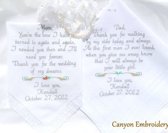 Mom and Dad Wedding Gifts Embroidered Wedding Handkerchiefs, Mother & Father of the Bride Groom, Wedding Parents, Gifts By Canyon Embroidery