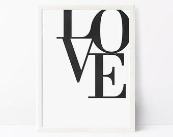 Love Print, Scandinavian Poster, Black and White Wall Art, Printable Wall Art Print Modern Minimalist Print Typographic Print Wall Art Print