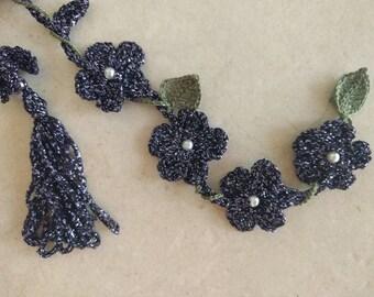Boho Lariat crochet Crochet Lariat Necklace