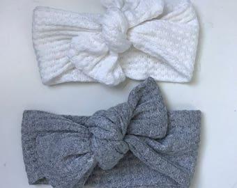bow set | Knot Headand | Ribbed Headband | Bow Headband | neutral headband | soft bow | grey white bow | baby shower gift | baby girl
