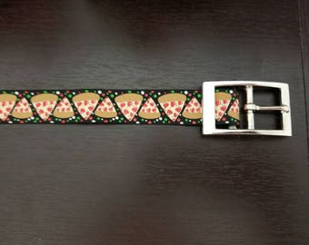 "1"" Pizza Party Dog Collar"