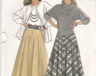 1990s New Look Sewing Pattern No 6877 for Womens Skirt Size 8-18,  33 1/2 - 42 inch hips, Uncut, Factory Folded