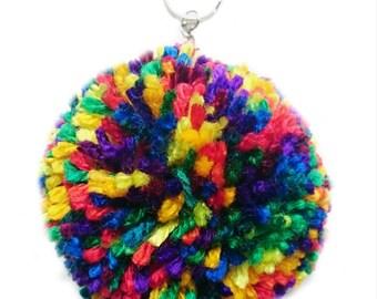 Pom Pom Keychain, Multicolored Large 3 inches Pom Pom Keychain
