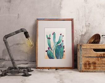 Prickly Pear Cactus ~ watercolor print