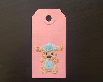 Small Gift Tag Pink Baby Lamb Design