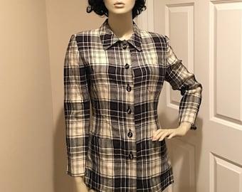Vintage Valentino button up plaid shirt