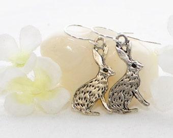 Silver Jackrabbit Earrings Jack and Jill - Bunny Earrings - Rabbit Inspired - Bunny Rabbit Jewelry - Rabbit Earrings - Bunny Jewelry - Pet