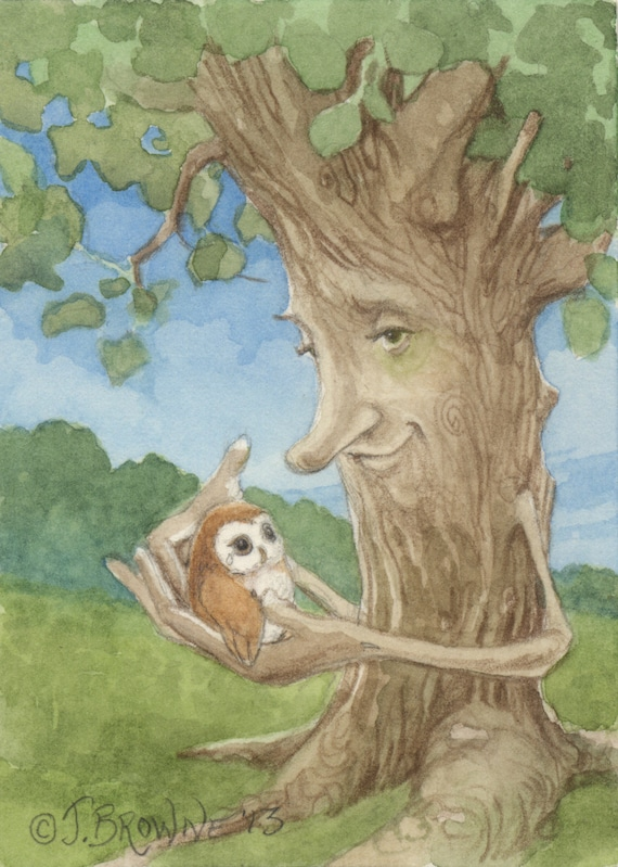 Healing Tree and Owl 5x7 Signed Print