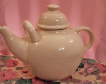 Large Hand Made Ceramic Solid White Teapot