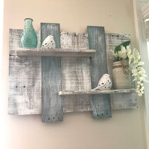 Attirant Wide Rustic Pallet Shelf, Pallet Shelf, Bathroom Shelf, White Shelf, Blue  Shelf
