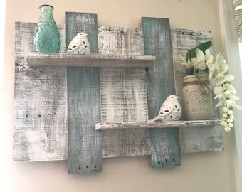 Wide Rustic Pallet Shelf, Pallet Shelf, Bathroom Shelf, White Shelf, Blue  Shelf, Beach Shelf, Bedroom Decor, Bathroom Decor, Wall Decor
