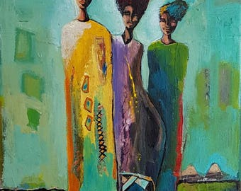 "Original intuitive figurative painting titled,  ""TRAVELLERS"""
