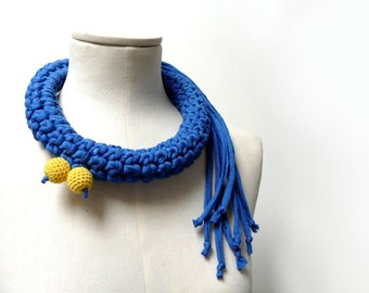 Crochet Statement Necklace - Electric Blue Upcycled Jersey Yarn - Jersey Scarf Cowl - Crochet Jewelry - Textile Necklace