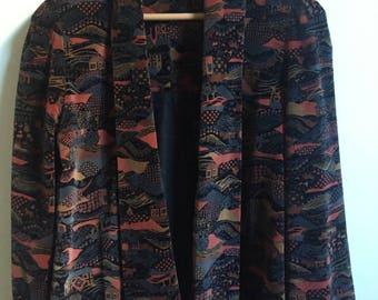 Asian Pastoral Scene Velvet Felt Jacket // Japanese Open Overjacket Coat Blazer