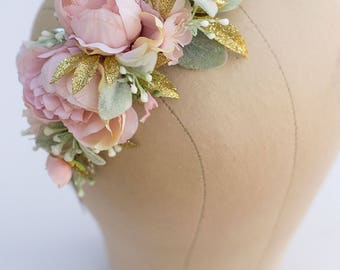 Flower Headband m2m Well Dressed Wolf Pink Duchess...rosy pink, gold and subtle greenery on a Hard Headband