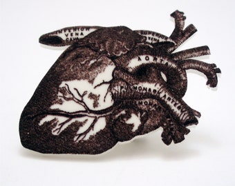 Black and White Anatomical Heart Pin
