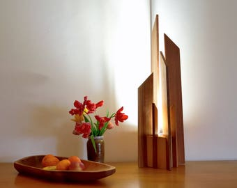 table lamp, design, high end and wood massive, lighting LED: DIRELA