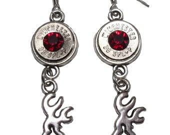 38 Special Nickel Deer Charm Dangle Earrings (Bullet Jewelry)