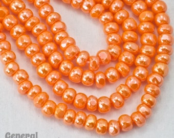 8/0 Luster Orange Charlotte Cut Seed Bead (10 Gram) #3487