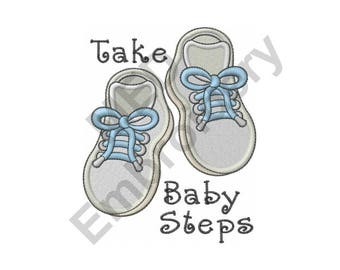Baby - Machine Embroidery Design, Baby Shoes, Take Baby Steps