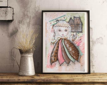 Young little fairy queen - original mixed media painting