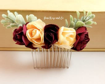 Roses and Buttercups Hair Comb//Wedding//Photo Prop//Christmas//Boho