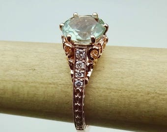 Vintage Engagement Ring 14K Rose, Yellow or White Gold Green Aquamarine Color Amethyst with Diamonds Antique Style